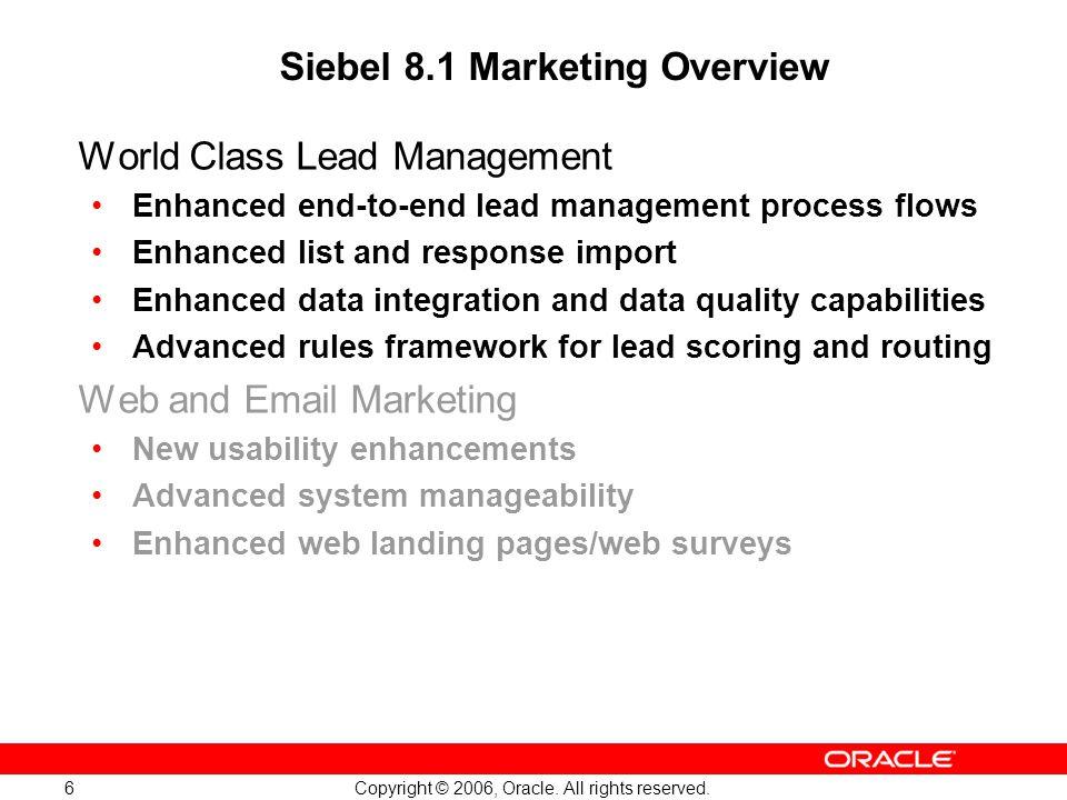 Siebel 8.1 Marketing Overview