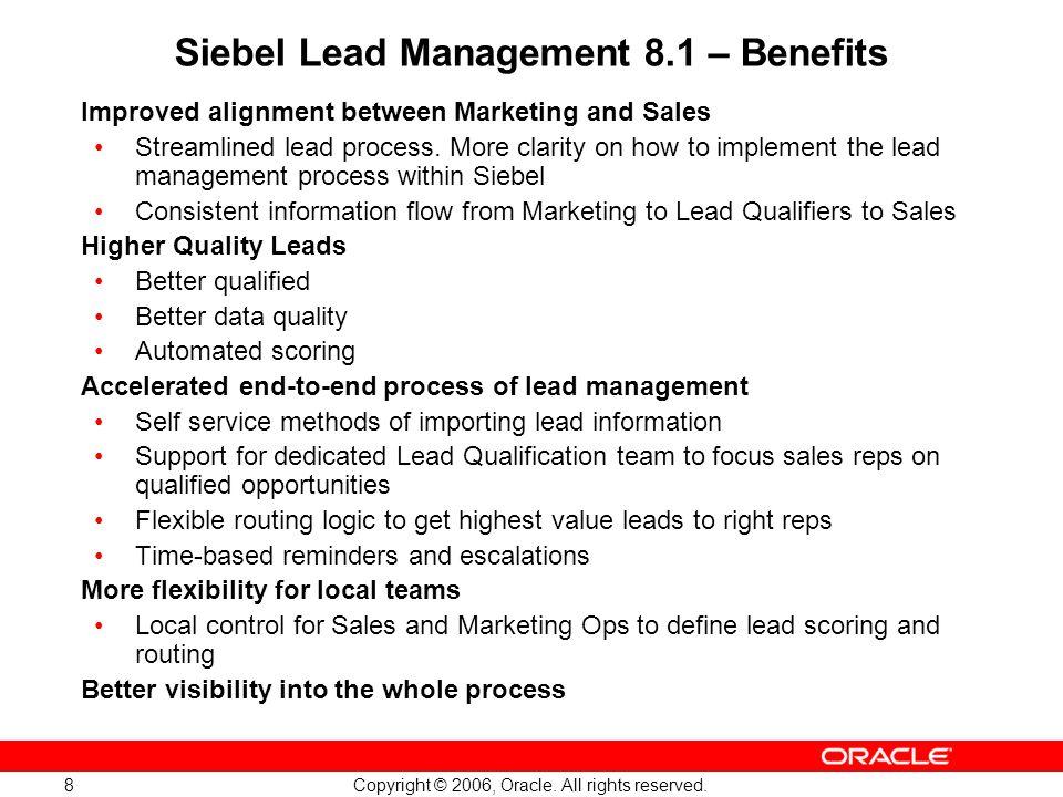 Siebel Lead Management 8.1 – Benefits