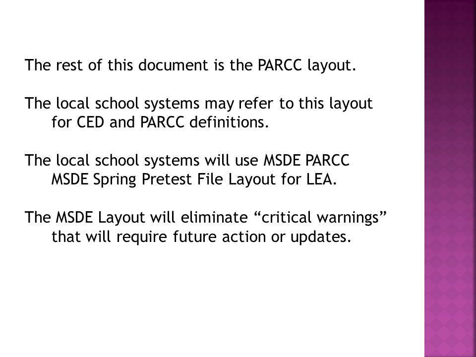 The rest of this document is the PARCC layout.