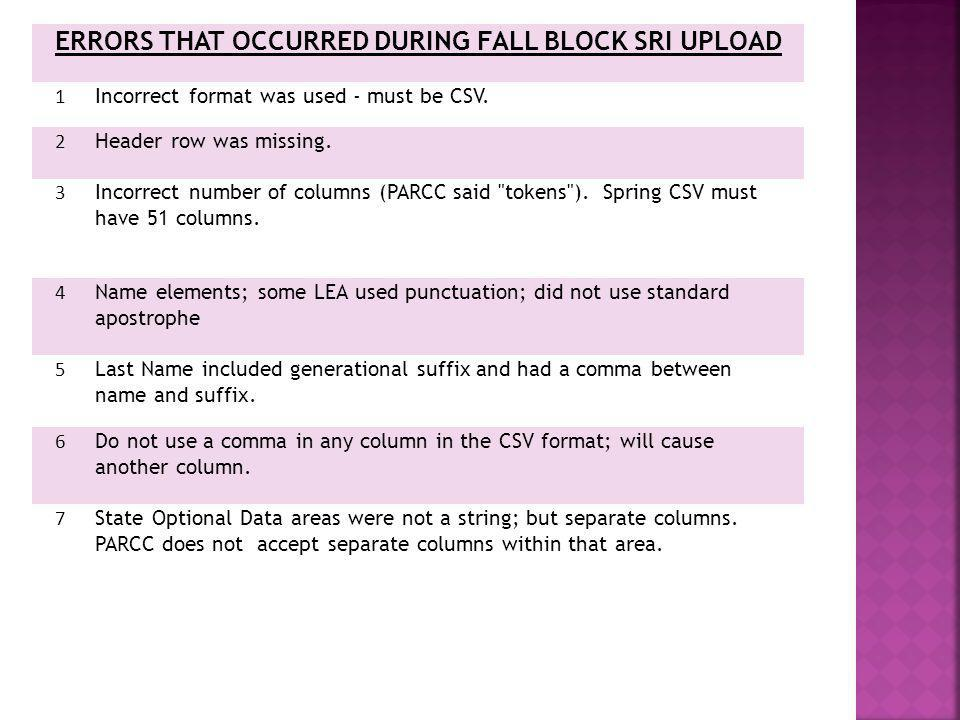 ERRORS THAT OCCURRED DURING FALL BLOCK SRI UPLOAD