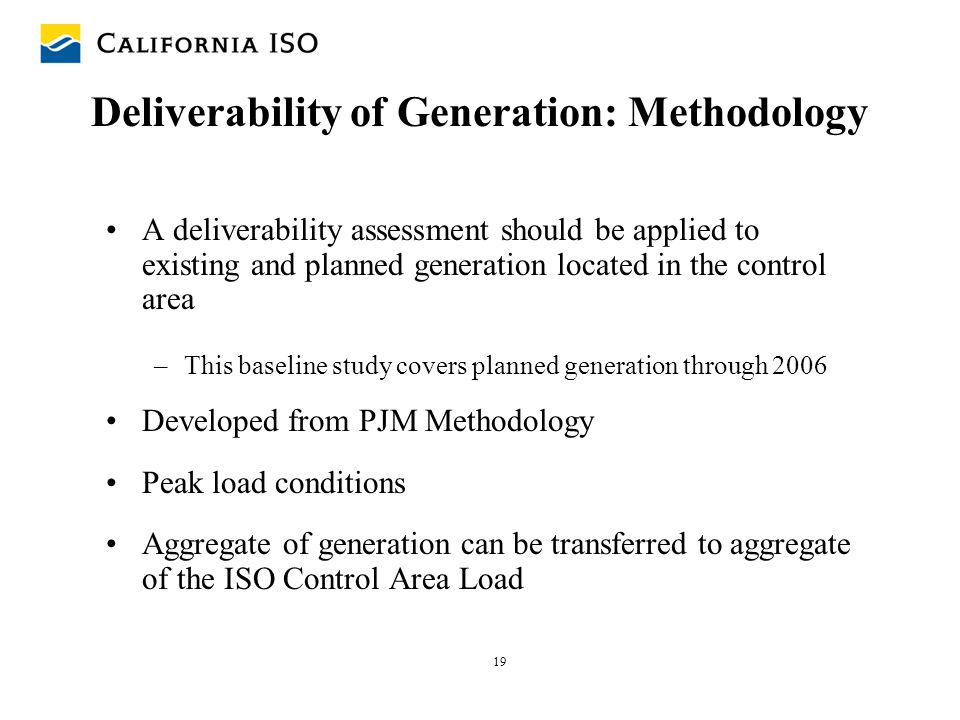 Deliverability of Generation: Methodology