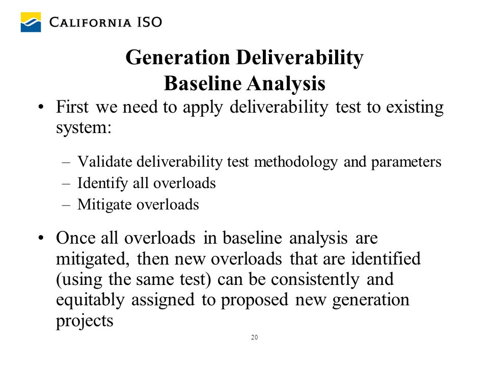 Generation Deliverability Baseline Analysis