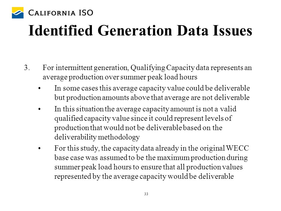 Identified Generation Data Issues