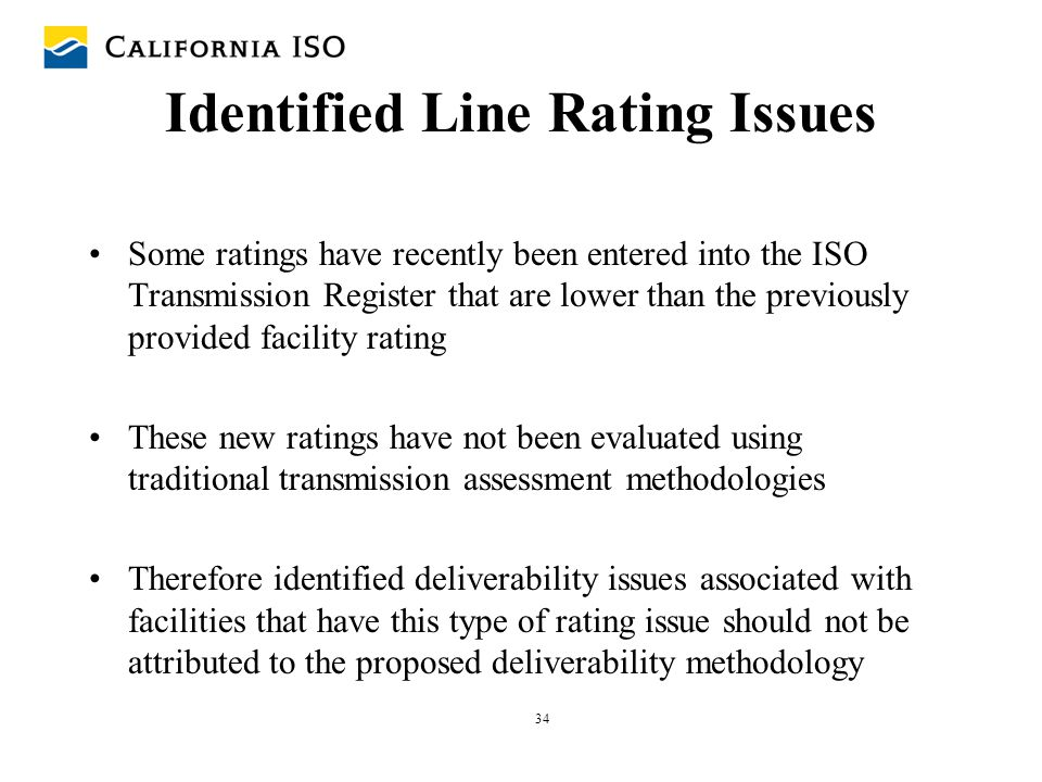 Identified Line Rating Issues