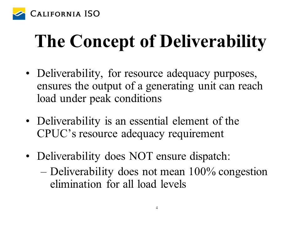 The Concept of Deliverability