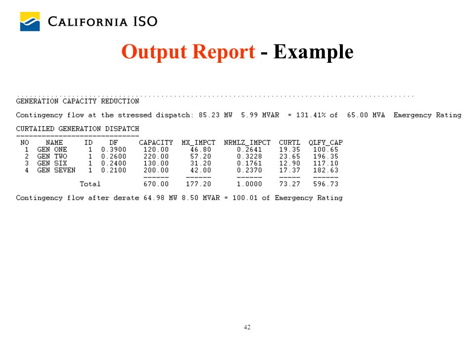 Output Report - Example
