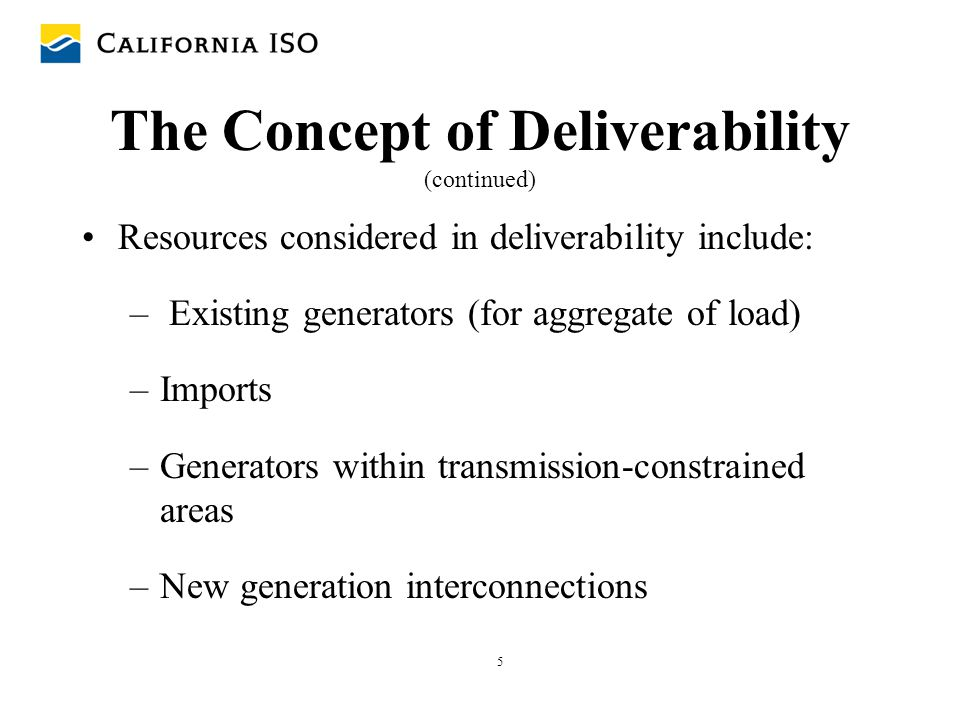 The Concept of Deliverability (continued)