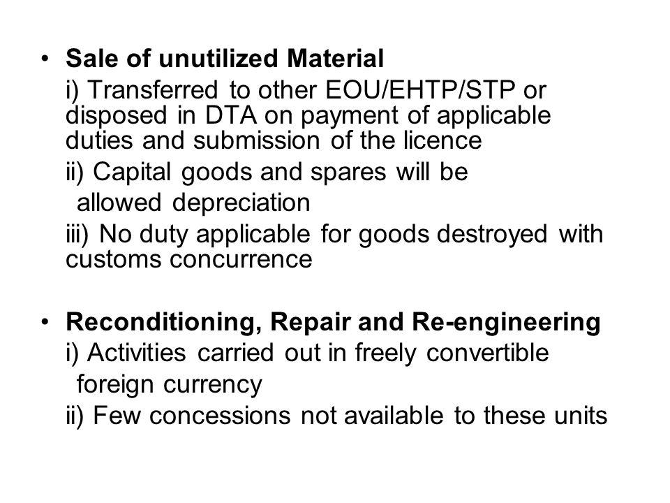Sale of unutilized Material