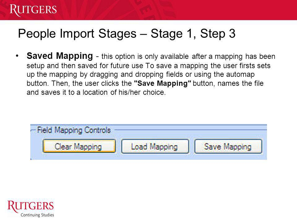 People Import Stages – Stage 1, Step 3