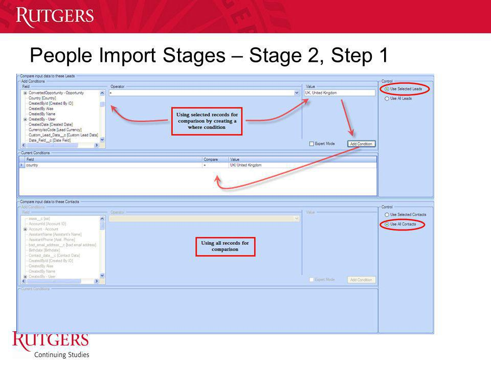 People Import Stages – Stage 2, Step 1