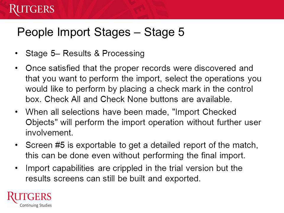 People Import Stages – Stage 5