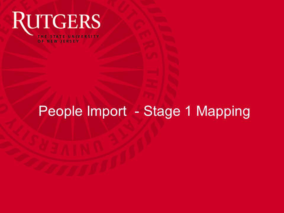 People Import - Stage 1 Mapping