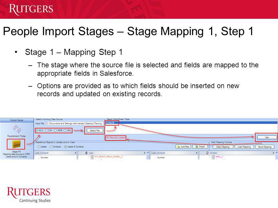 People Import Stages – Stage Mapping 1, Step 1