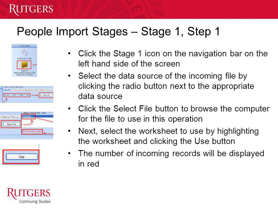 People Import Stages – Stage 1, Step 1