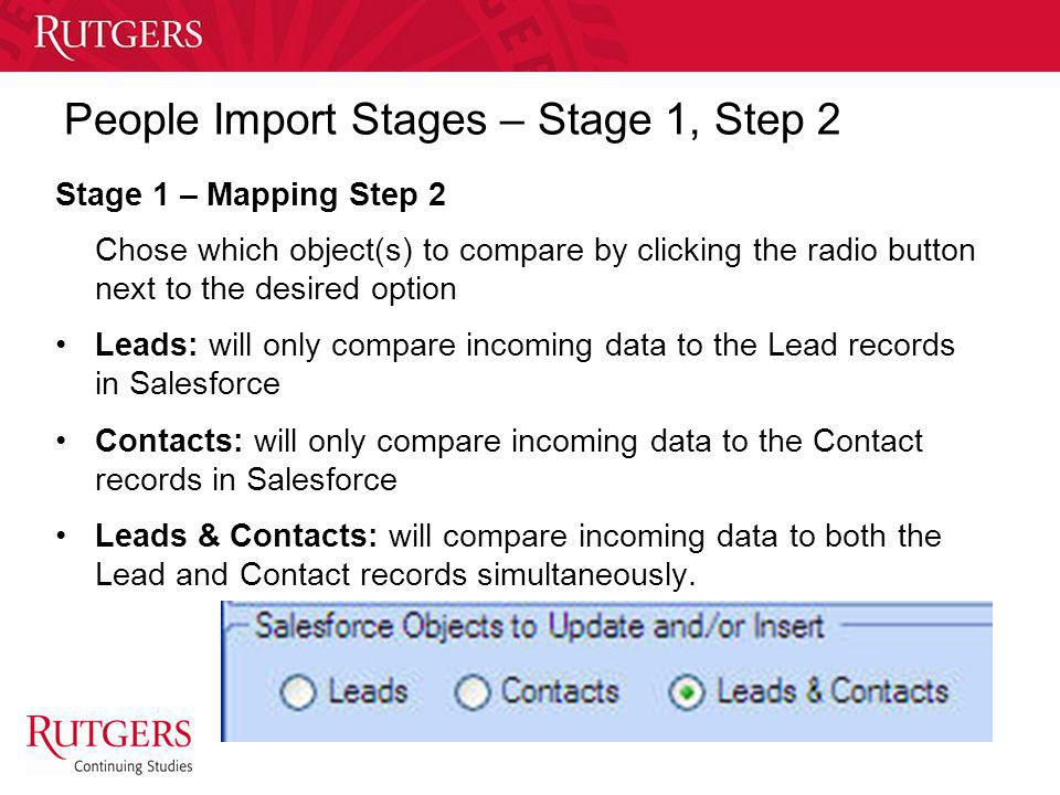 People Import Stages – Stage 1, Step 2