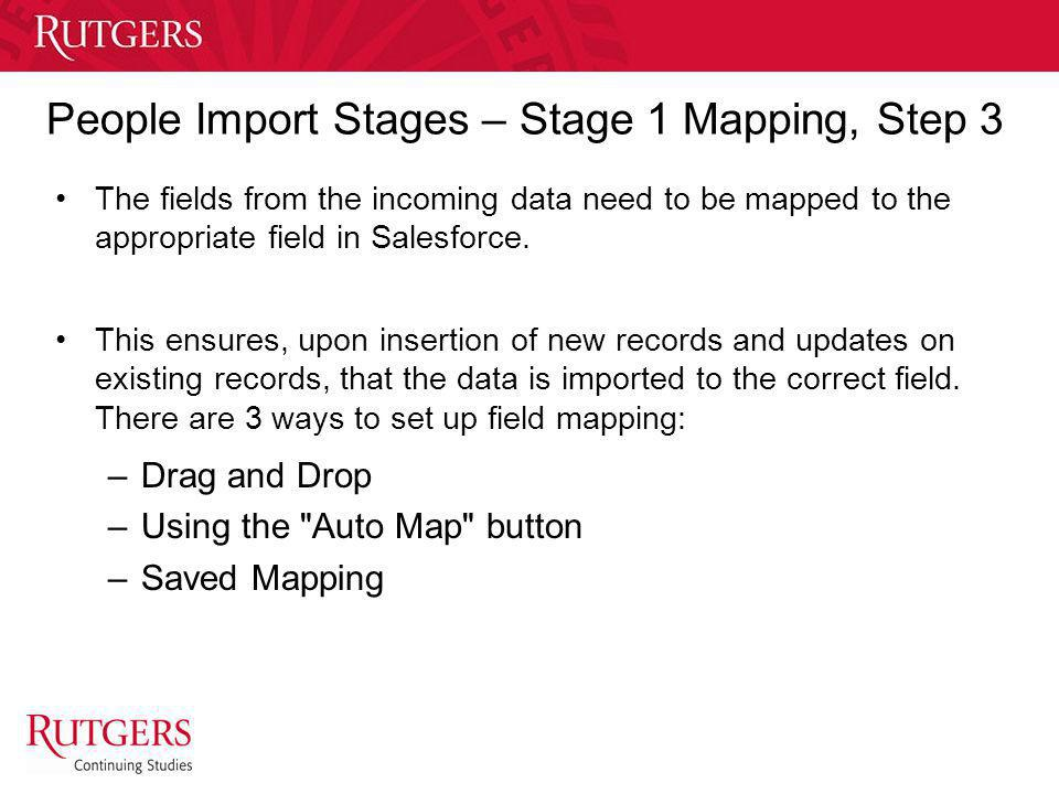People Import Stages – Stage 1 Mapping, Step 3