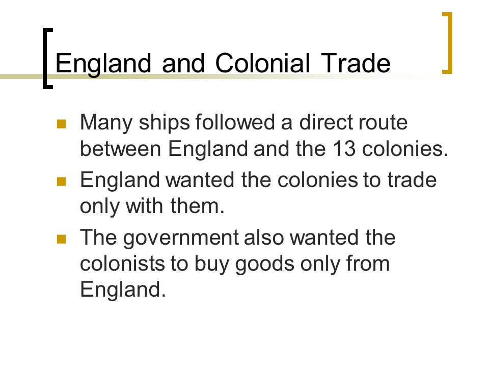 England and Colonial Trade