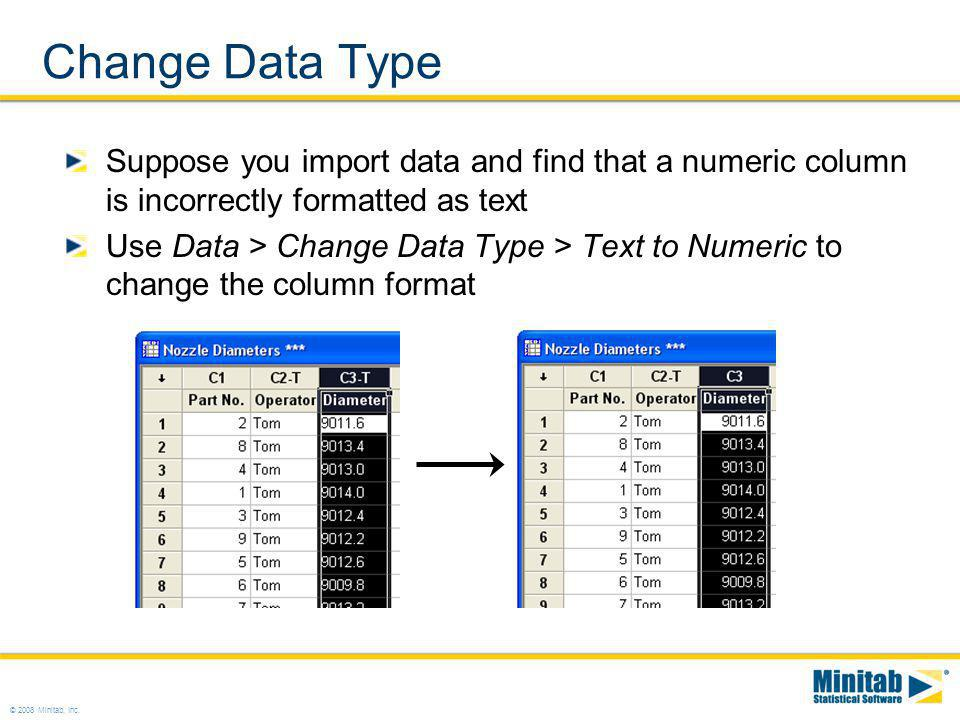 Change Data Type Suppose you import data and find that a numeric column is incorrectly formatted as text.