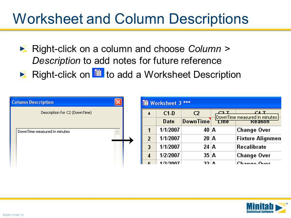 Worksheet and Column Descriptions