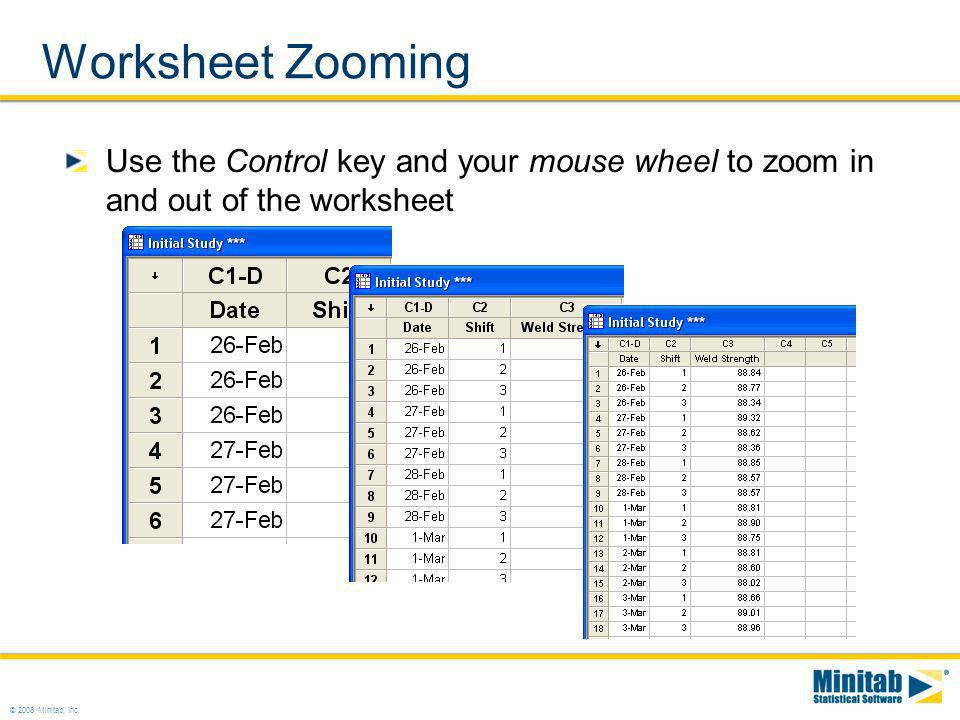 Worksheet Zooming Use the Control key and your mouse wheel to zoom in and out of the worksheet