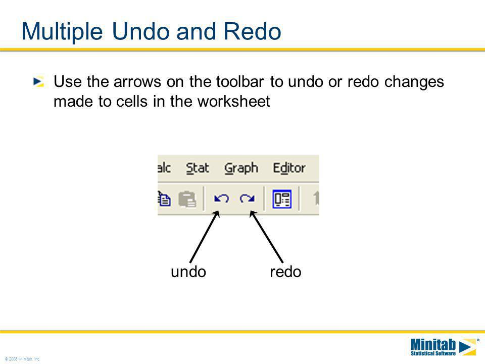 Multiple Undo and Redo Use the arrows on the toolbar to undo or redo changes made to cells in the worksheet.
