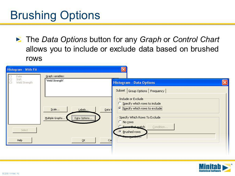 Brushing Options The Data Options button for any Graph or Control Chart allows you to include or exclude data based on brushed rows.