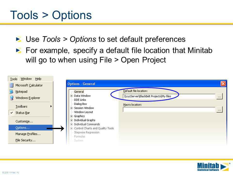 Tools > Options Use Tools > Options to set default preferences