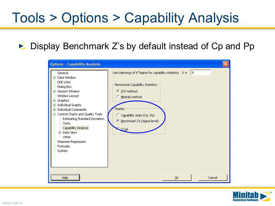 Tools > Options > Capability Analysis