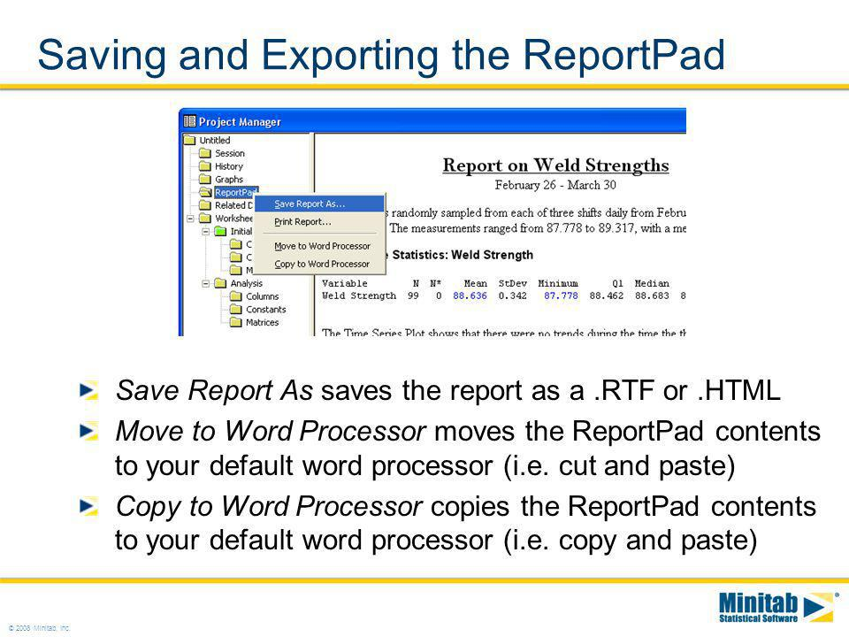 Saving and Exporting the ReportPad