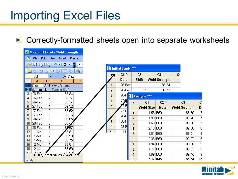 Importing Excel Files Correctly-formatted sheets open into separate worksheets