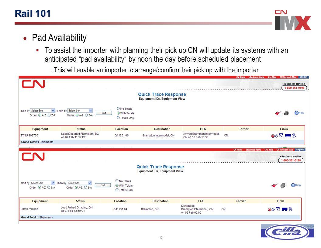 Intermodal Shipment Status