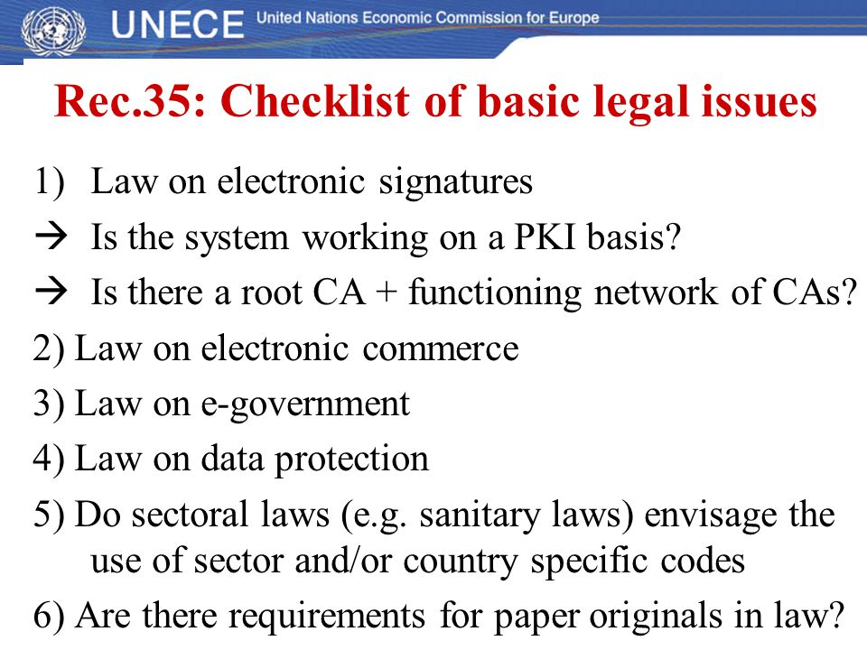Rec.35: Checklist of basic legal issues