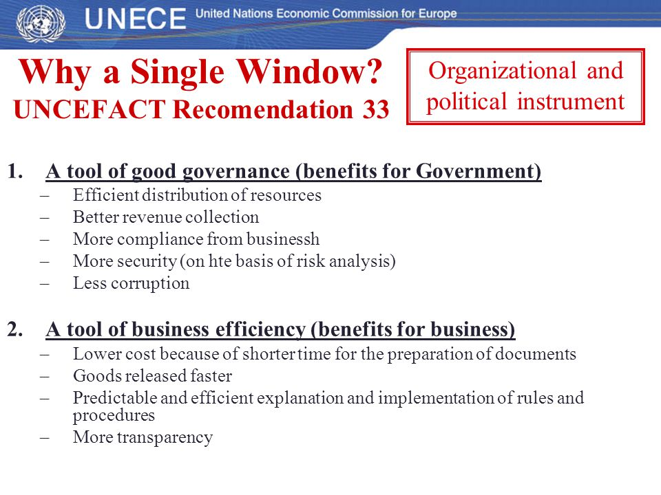 Why a Single Window UNCEFACT Recomendation 33