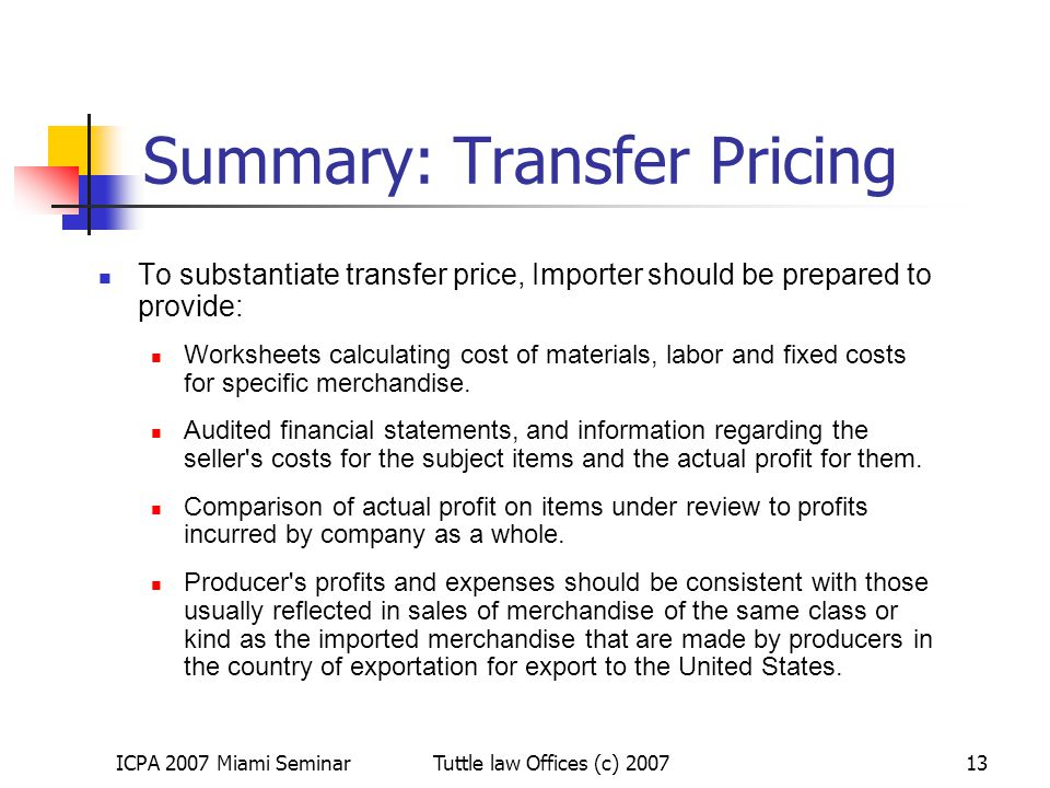 Summary: Transfer Pricing