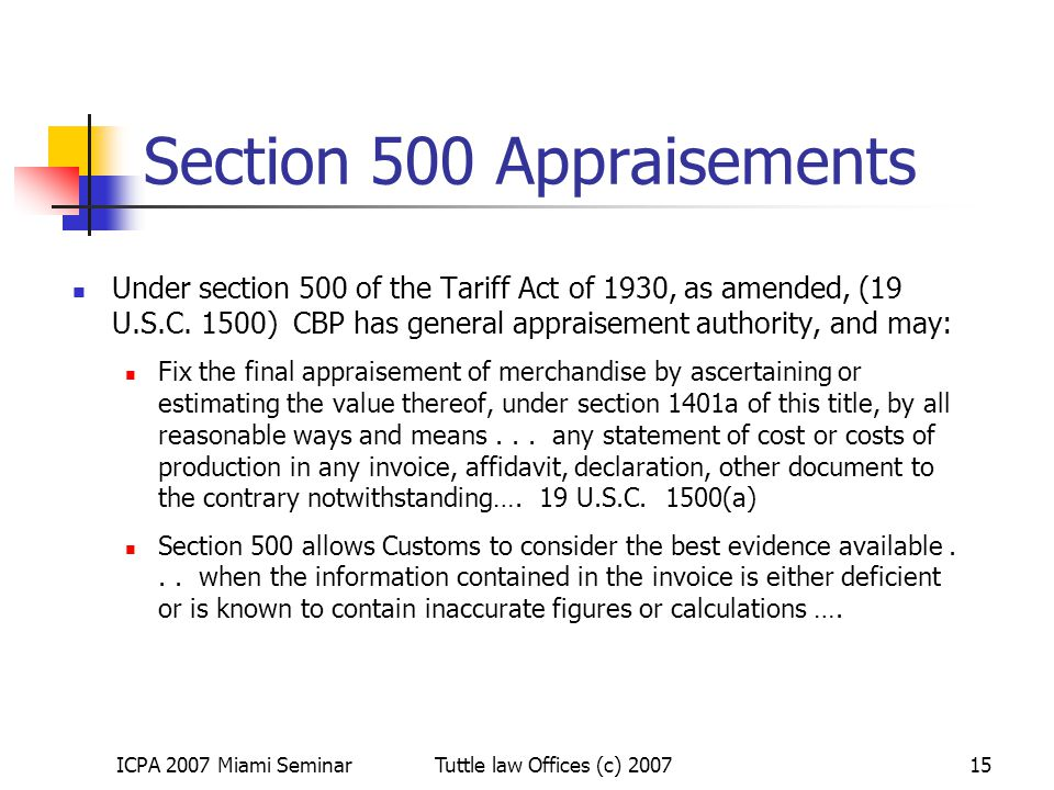 Section 500 Appraisements