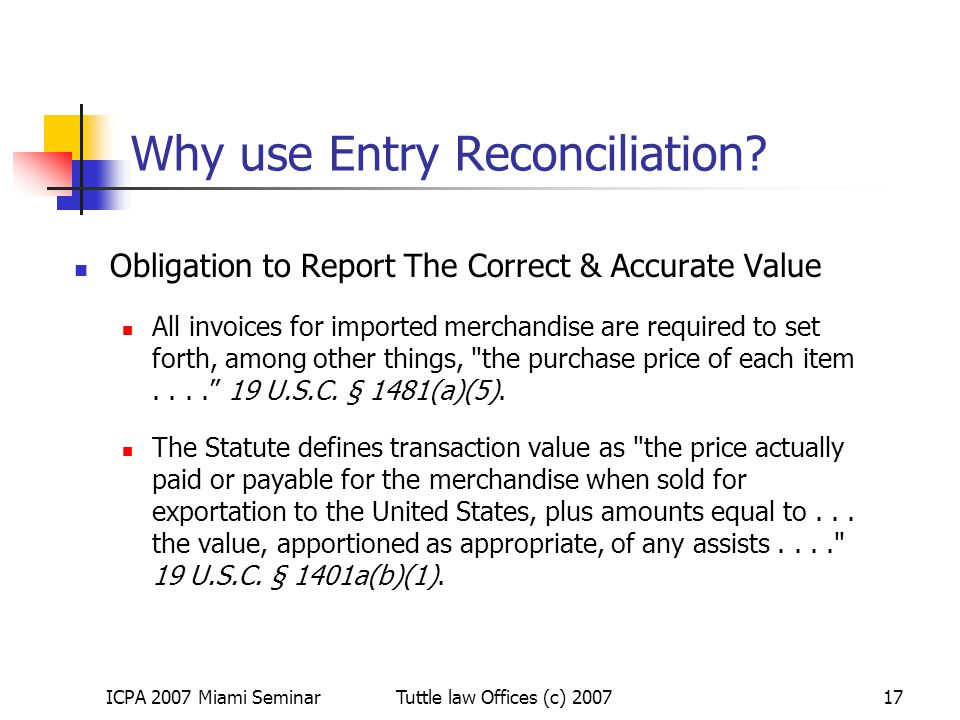 Why use Entry Reconciliation