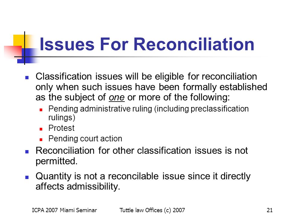 Issues For Reconciliation