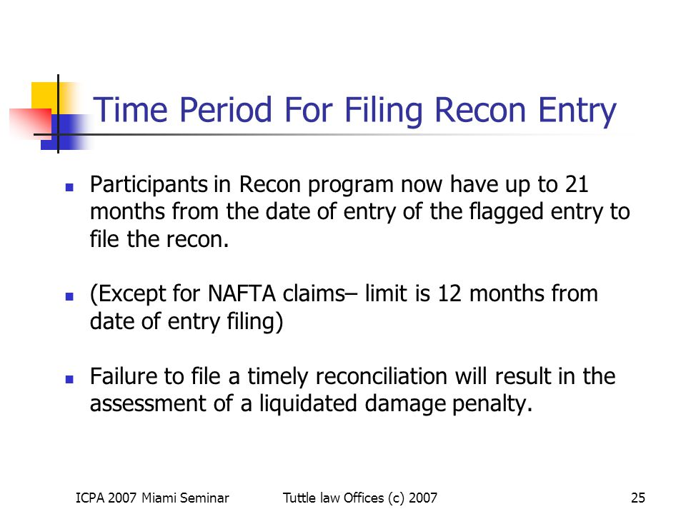 Time Period For Filing Recon Entry