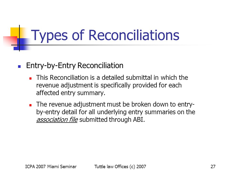 Types of Reconciliations