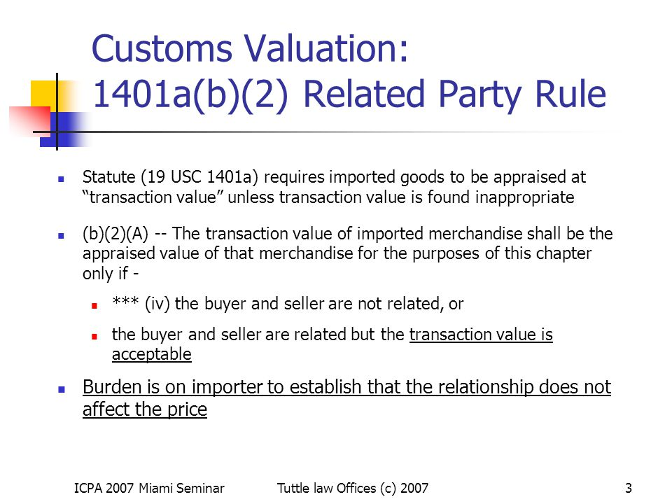 Customs Valuation: 1401a(b)(2) Related Party Rule