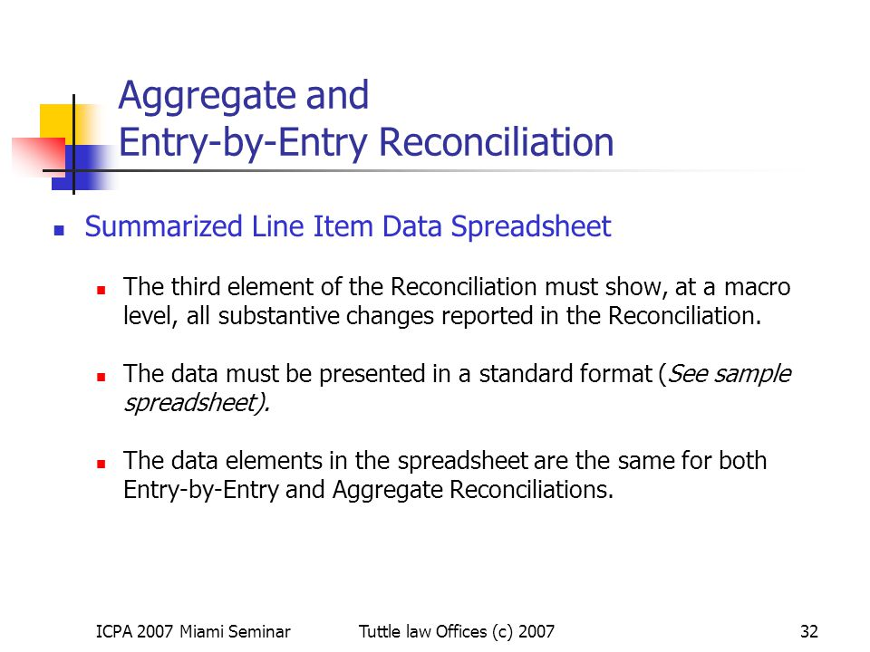 Aggregate and Entry-by-Entry Reconciliation