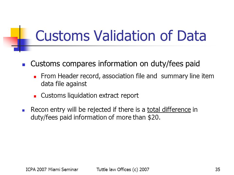 Customs Validation of Data