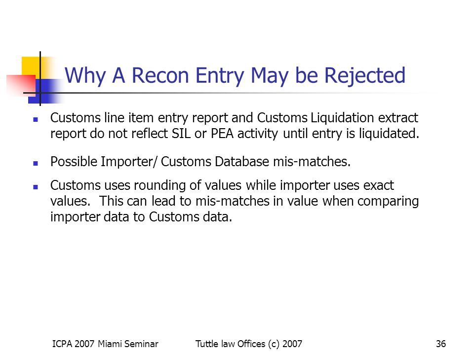 Why A Recon Entry May be Rejected