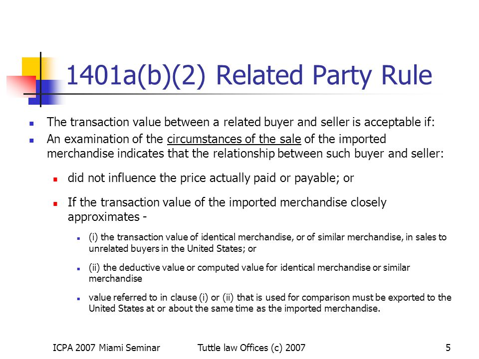 1401a(b)(2) Related Party Rule