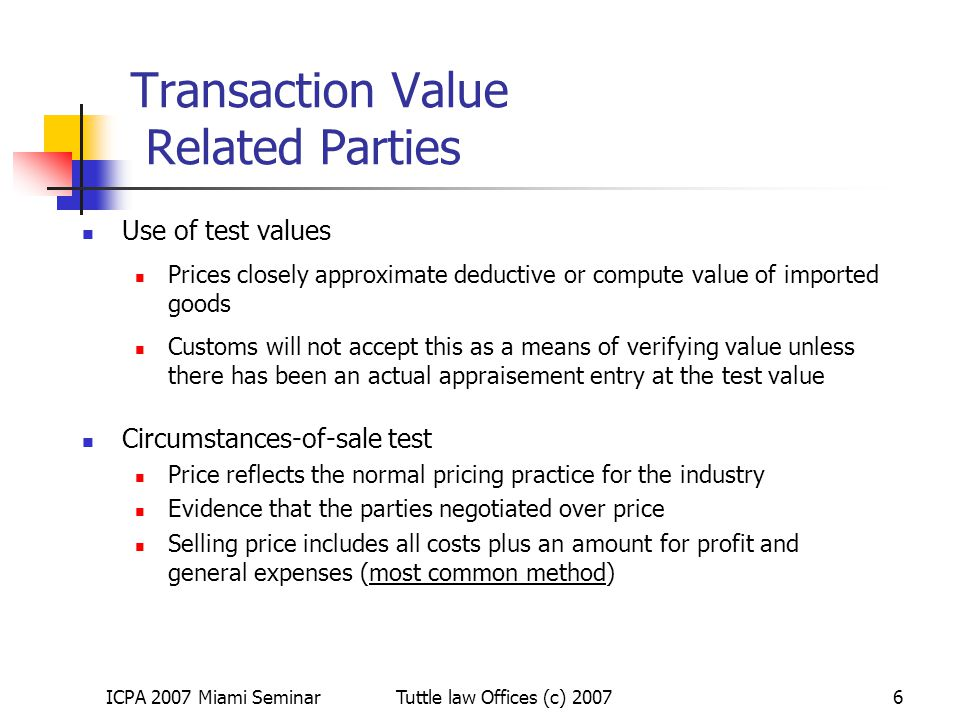 Transaction Value Related Parties
