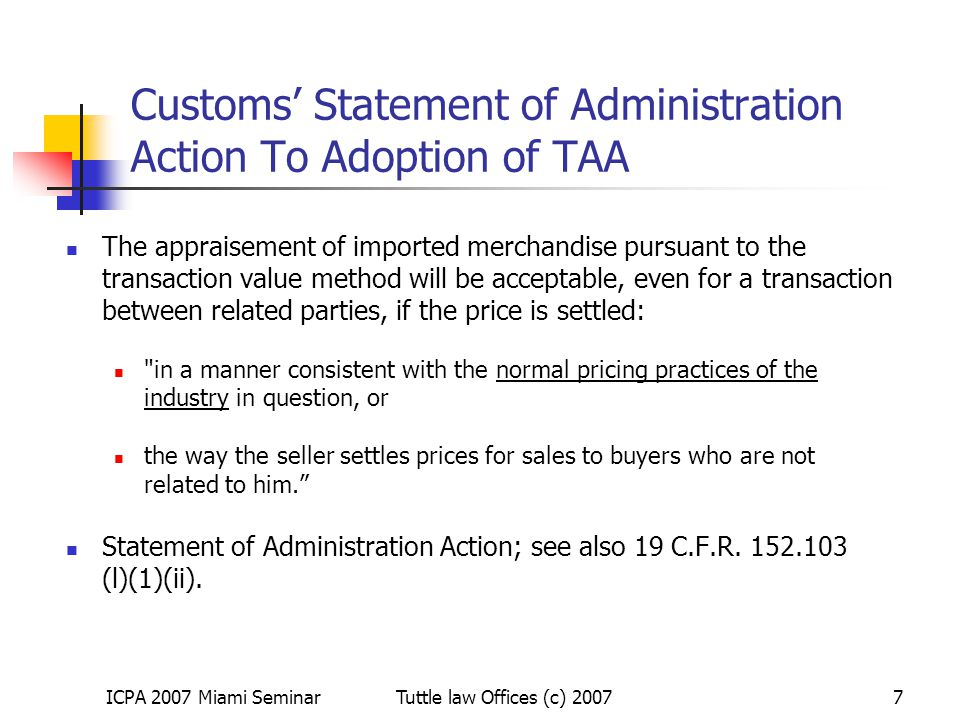 Customs' Statement of Administration Action To Adoption of TAA