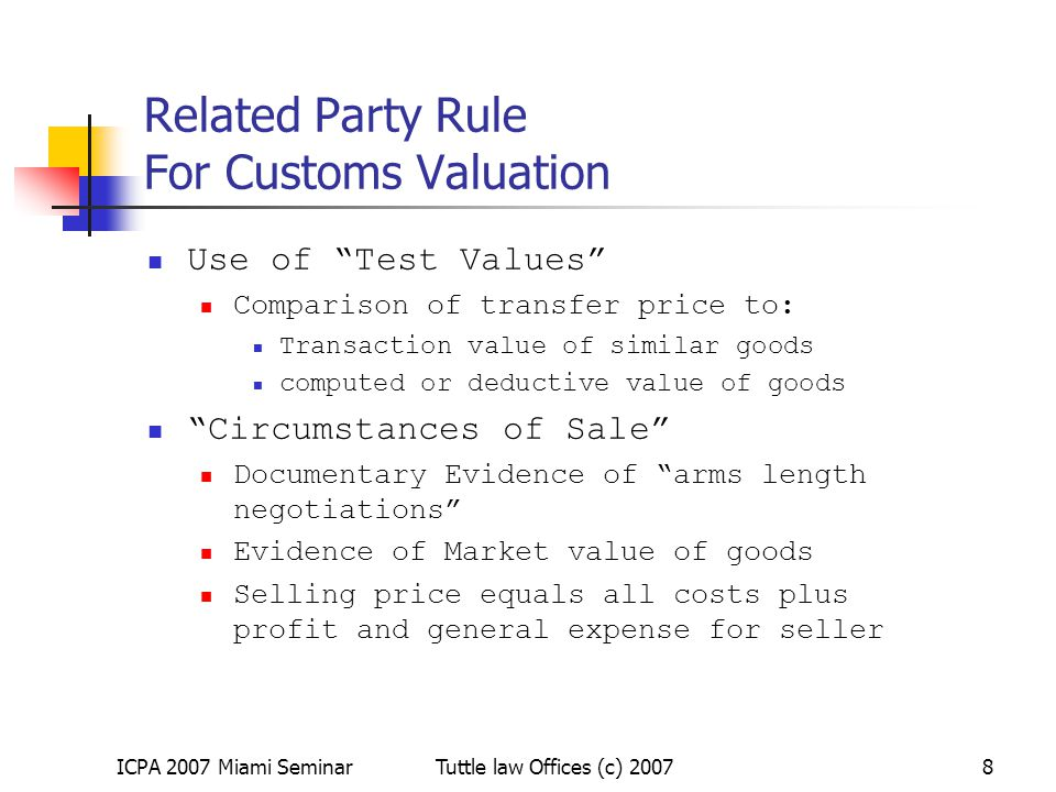 Related Party Rule For Customs Valuation