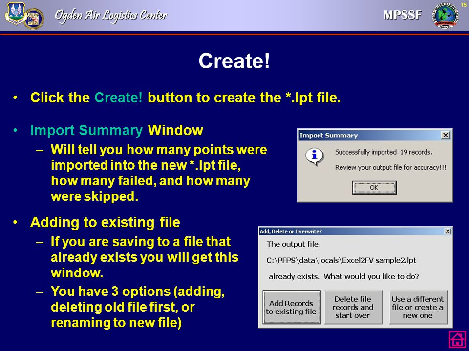 Create! Click the Create! button to create the *.lpt file.