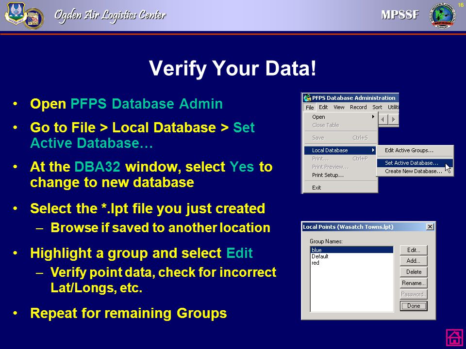 Verify Your Data! Open PFPS Database Admin