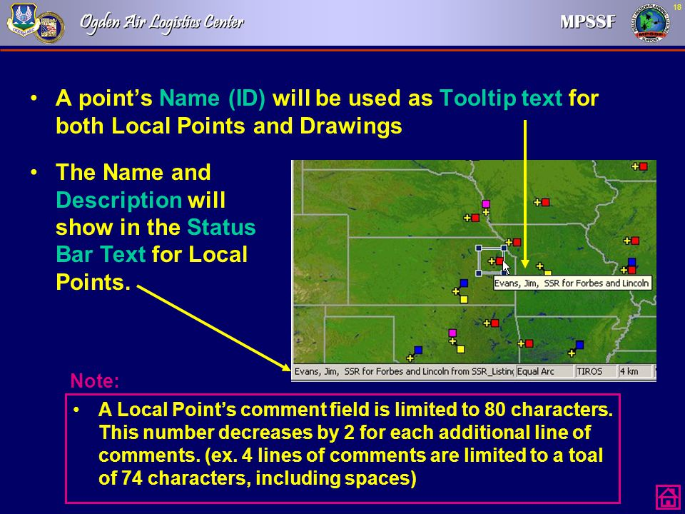 A point's Name (ID) will be used as Tooltip text for both Local Points and Drawings